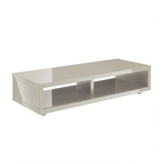 Curio Stone High Gloss Finish Low Board Tv Stand With 2