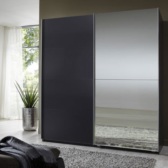 Robe Sliding Wardrobe With Oak Frame And 2 Mirrored Doors Wardrobes