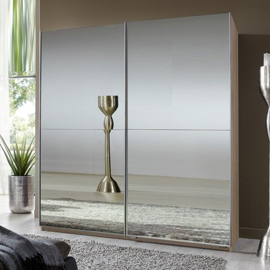 Quest Robe Sliding Wardrobe With Oak Frame And 2 Mirrored Doors_1