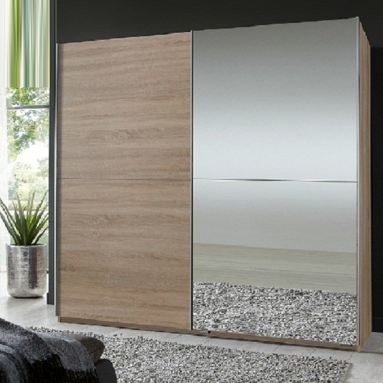 Quest Oak Robe 2 Door Sliding Wardrobe With 1 Mirrored Door_1