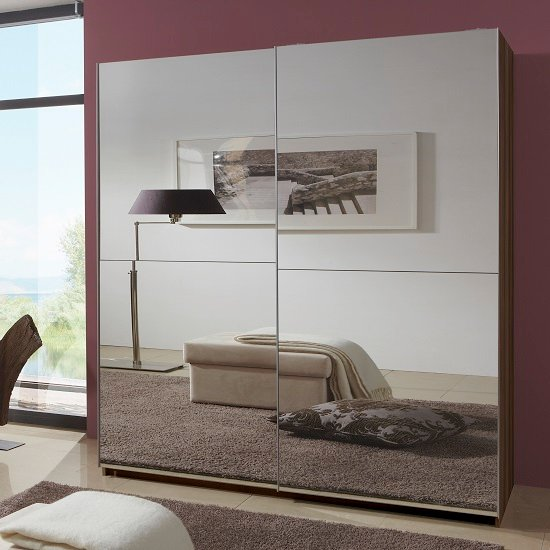 Wardrobes quest mirrored sliding wardrobe large in walnut with 2 doors