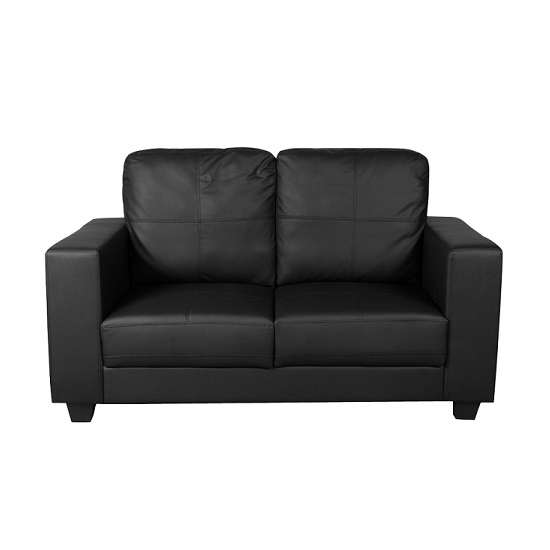 Queensland 2 Seater Sofa In Black Faux Leather 27068
