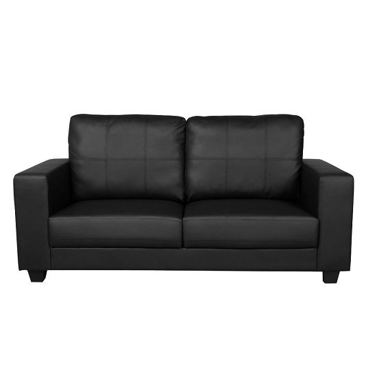 Queensland 3 Seater Sofa In Black Faux Leather