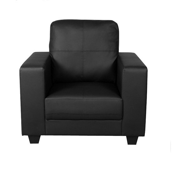 Queensland Sofa Chair In Black PU Leather