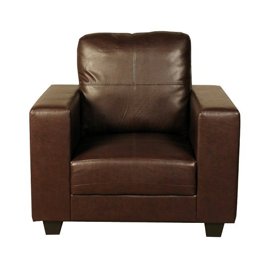 Queensland Sofa Chair In Brown Faux Leather