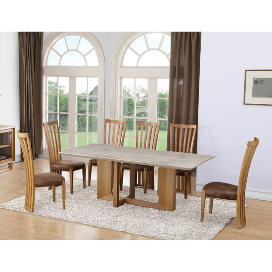Queen Dining Table In Natural Marble Top With 6 Dining Chairs