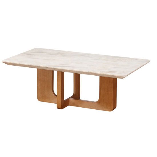 Queen Coffee Table In Marble Top And Birch Wood In Natu Tables Furnitureinfashion Furniture