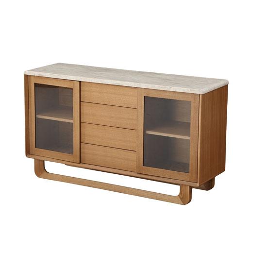 Queen sideboard in marble top and birch wood in natural oak for Sideboard queens