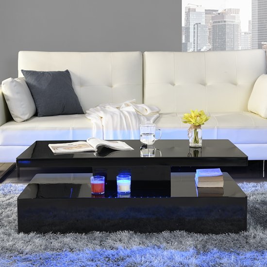 Quinton Glass Coffee Table In Black High Gloss With LED_2