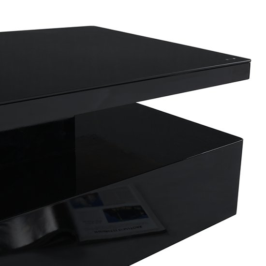Quinton Glass Coffee Table In Black High Gloss With LED_11