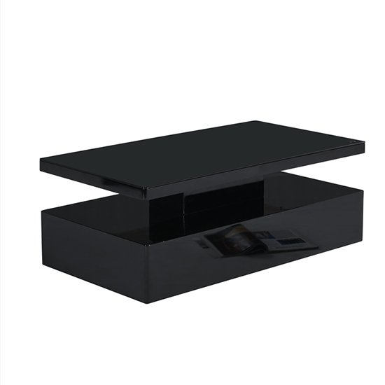 Quinton Glass Coffee Table In Black High Gloss With LED_8
