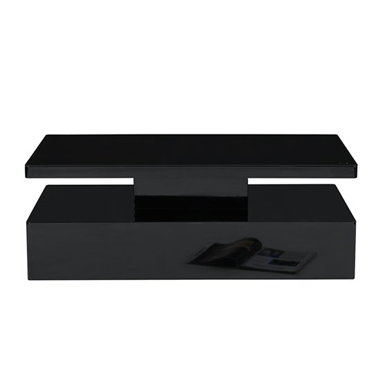 Quinton Glass Coffee Table In Black High Gloss With LED_9