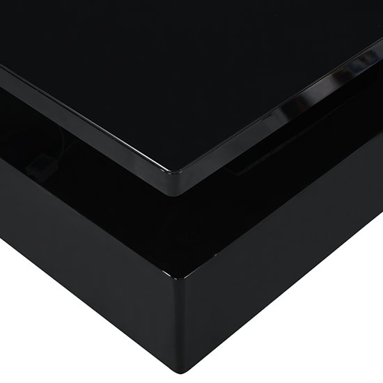 Quinton Glass Coffee Table In Black High Gloss With LED_10