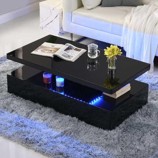 Quinton Glass Coffee Table In Black High Gloss With LED_1