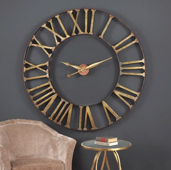 Kaison Clock In Antique Golden Champagne Finish_2