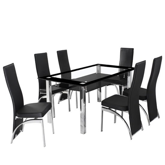 Black Glass Kitchen Table And Chairs: Ravel Black Bordered Clear Glass Dining Table And 6 Romeo