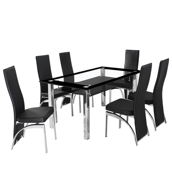 Ravel Black Bordered Clear Glass Dining Table And 6 Romeo : RAVELREMEO dining set from www.furnitureinfashion.net size 550 x 550 jpeg 80kB
