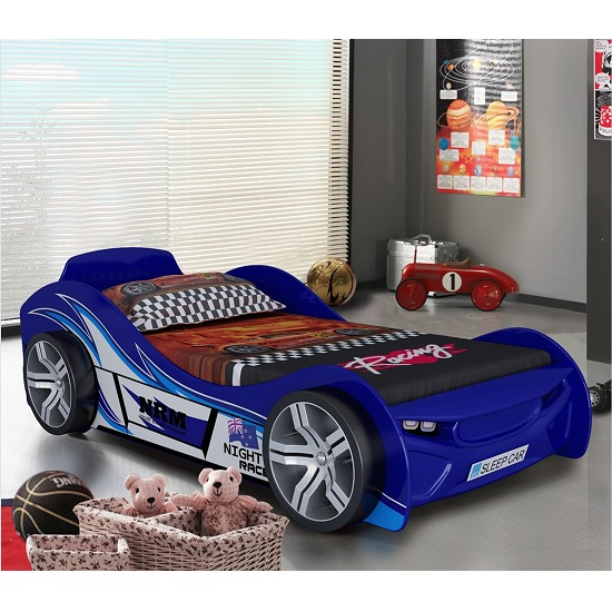 Fisher Racing Car Children Bed In Blue High Gloss Lacquer