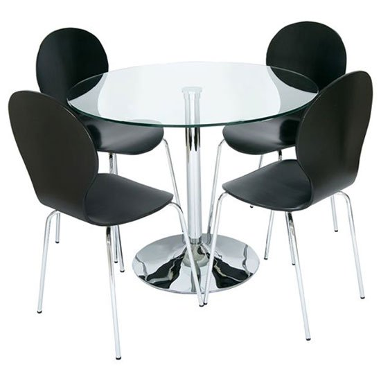 Roma Round Clear Glass Dining Table with 4 Black Chairs