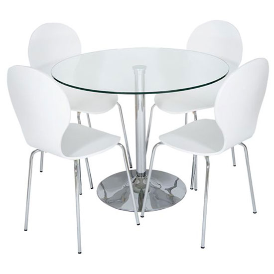 Romano Glass Dining Table With 4 Dining Chairs In White : RDC CHW white dset from www.furnitureinfashion.net size 550 x 550 jpeg 22kB