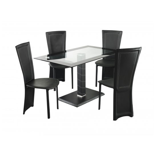 Elnora Black Rectangular Clear Glass Dining Table And 4 Chairs