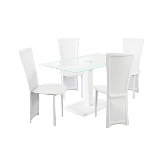 Elnora White Rectangular Clear Glass Dining Table And 4 Chairs