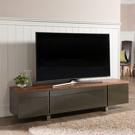 Hessel Wooden Tv Cabinet Large In Walnut With Grey Gl Door 1