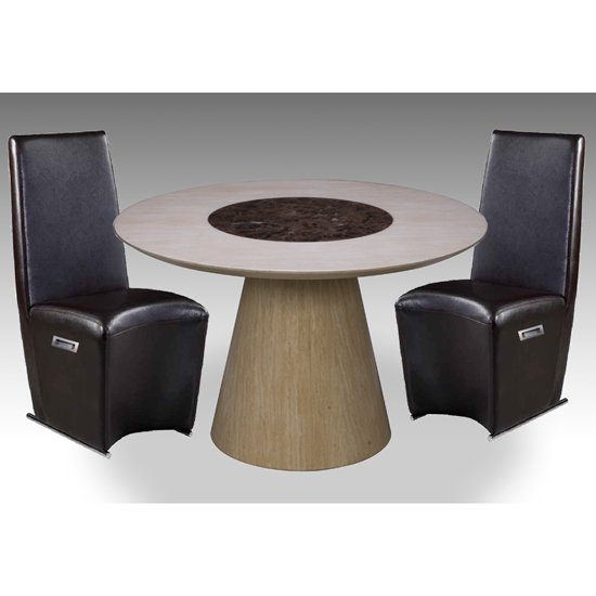 Retro Round Marble Dining Table And 4 Faux Leather Chairs