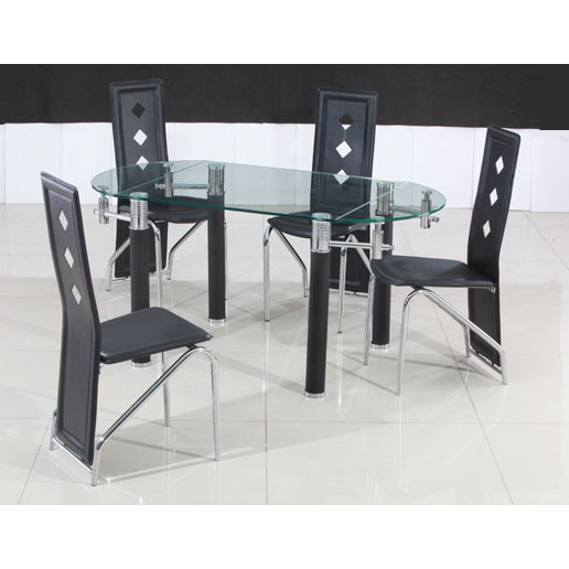 Emilio Oval Extending Dining Table With 4 Black PU Dining Chairs