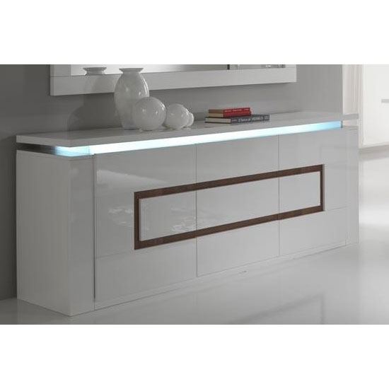 Garde Sideboard High Gloss In White And Walnut With Led