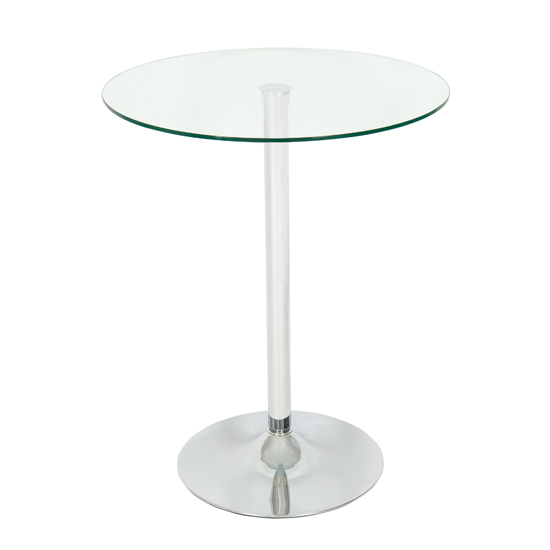 Roma Bar Table Round In Clear Glass With Chrome Base
