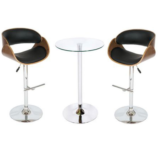 Read more about Corina glass bistro set in clear with black and walnut stools