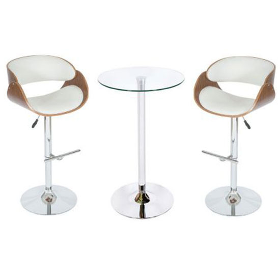 Read more about Corina glass bistro set in clear with white and walnut stools