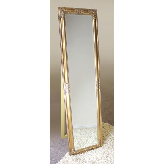Cheval triple bar floor standing mirror in silver 20820 furn for Gold frame floor mirror