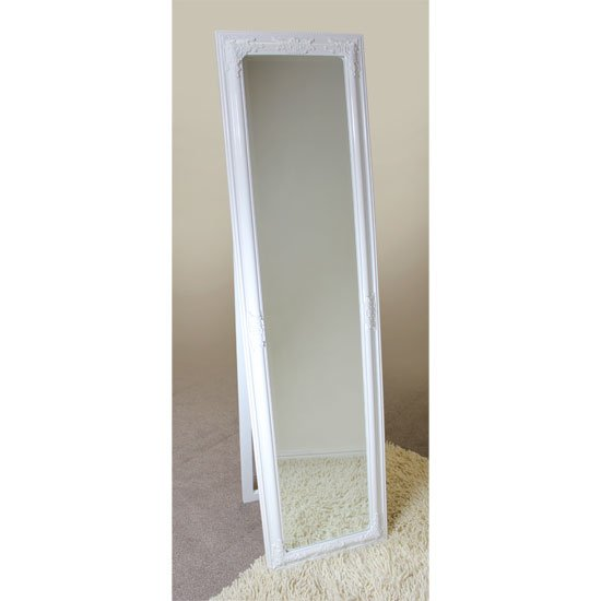 Rocco cheval floral white frame freestanding mirror 15891 for White long standing mirror