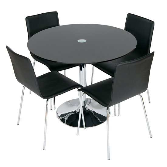 Read more about Romano black glass dining table with 4 dining chairs