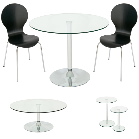 Roma Clear Glass Dining Set And Coffee and 2PC Side Table