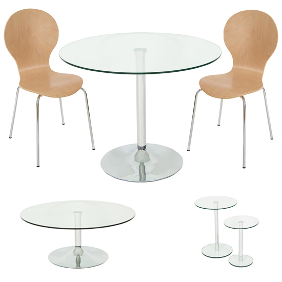 SPECIAL! Roma Clear Glass Dining Set + Coffee + 2PC Side Tables