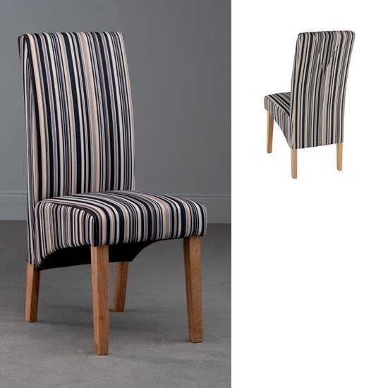 Roma stripe fabric dining chair rom11 18569 furniture in for Fabric dining room chairs