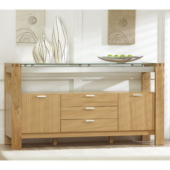 arturo modern solid oak with glass sideboard 13409. Black Bedroom Furniture Sets. Home Design Ideas