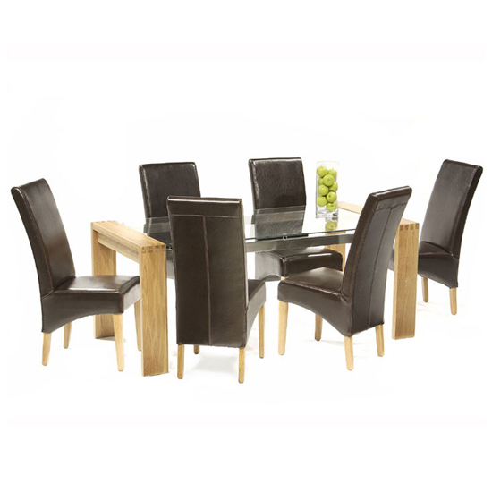 Read more about Arturo glass dining table large in oak and 6 roma dining chairs