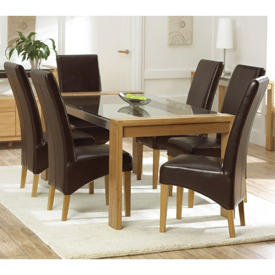 Arturo oak glass top dining table and 4 roma dining chairs for Glass top dining table sets