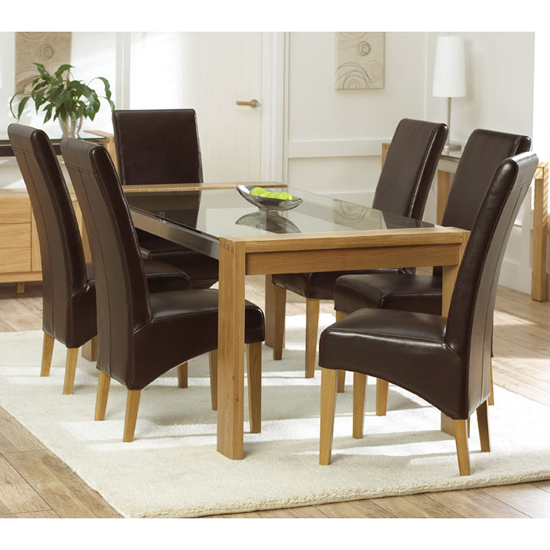 Arturo oak glass top dining table and 4 roma dining chairs for Glass dining table and chairs