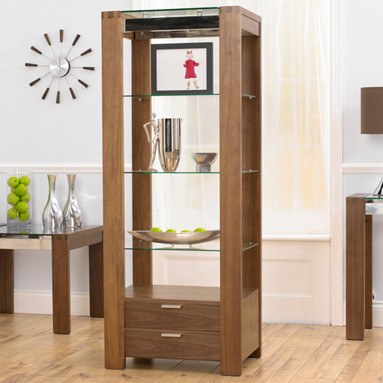 ROMA Walnut & Glass 2 Drawer Wall Unit - Elegant Way To Showcase Your Collections