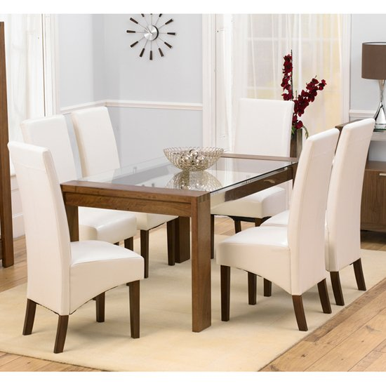 Arturo Walnut Glass Top Dining Table And 4 Wenge Dining Chairs