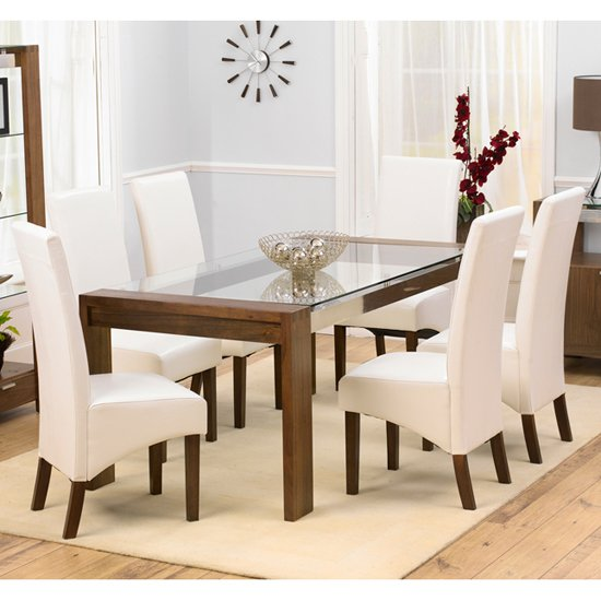Arturo Glass Dining Table Large In Walnut And Wenge