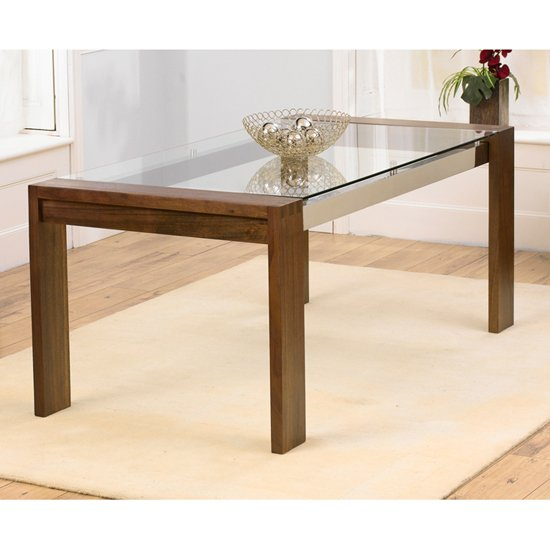 Arturo 180cm Walnut Glass Top Dining Table Only