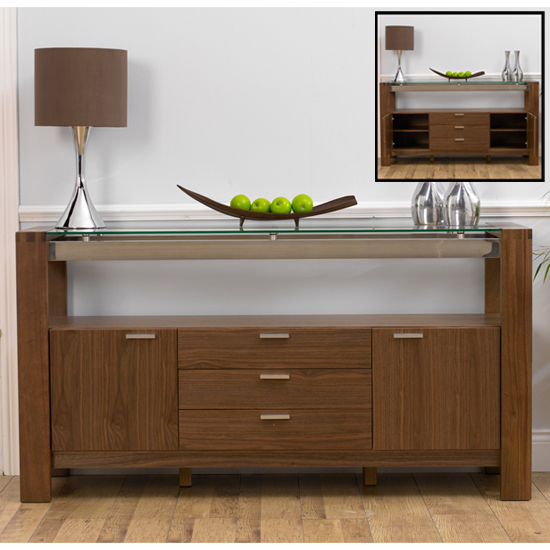 Arturo Contemporary Solid Walnut With Glass Sideboard