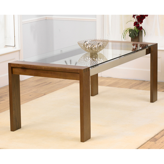 Read more about Arturo 200cm walnut glass top dining table only