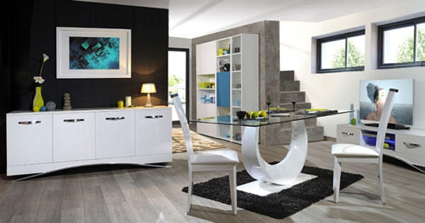 Smooth High Gloss White LCD TV Stand With LED Light